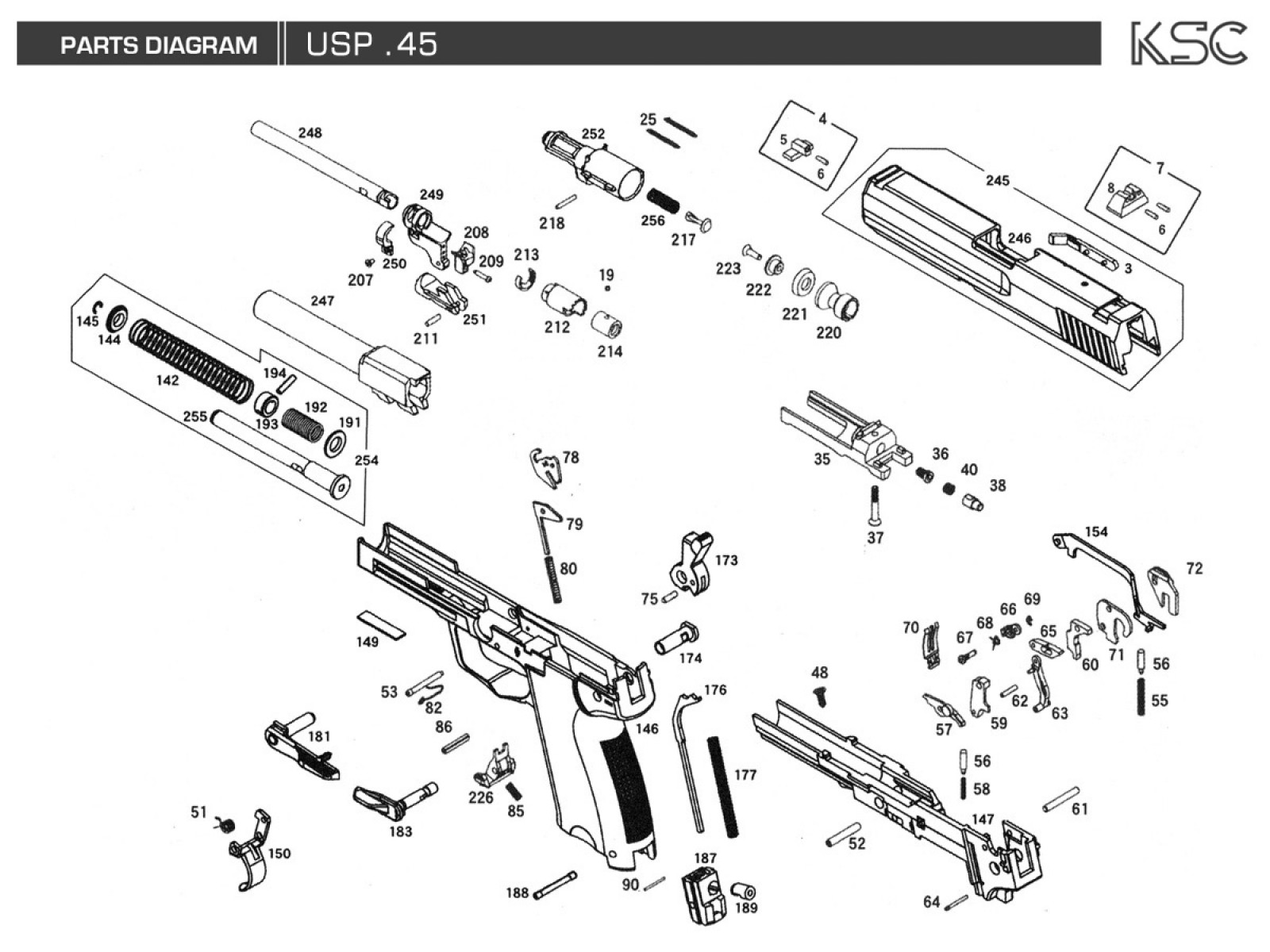 M1911a1 Parts Diagram Product Wiring Diagrams 1911 Pistol Also With Colt Exploded Ksc Products Drawing